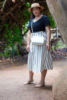 Midi Skirt, Boater Hat