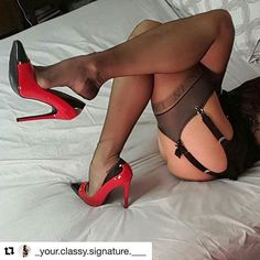 #Repost @_your.classy.signature.___ with @secretsinlace Signature Reinforced Heel & Toe Stockings in Coffee available at secretsinlace.com・・・  THE LOVELY SHERIE IN SECRETSINLACE STOCKINGS model @nylon_rojean