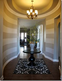 BM SENORA GRAY green undertone a shade darker than Behr SANDSTONE CLIFF  ENTRY WAY DESIGN STRIPED WALL PAINT COLOR ENTIRE HOME