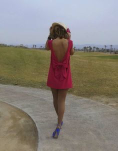 Red dress + Blue shoes + bow