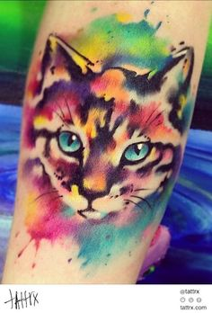 Water Color Tattoo (395) Yellow Dog - Watercolor Kitten