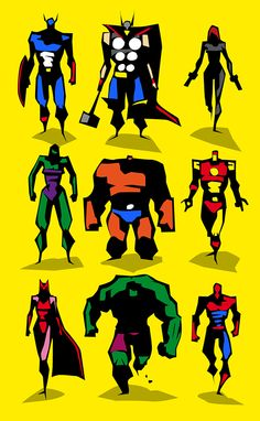 Marvel dc Motu Vector sketches on Character Design Served