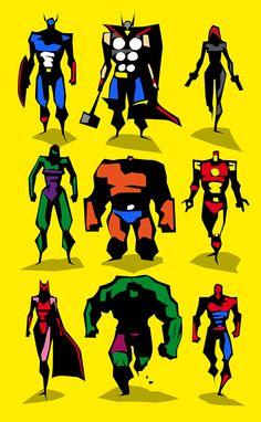 Marvel dc Motu Vector sketches by Bunka , via Behance