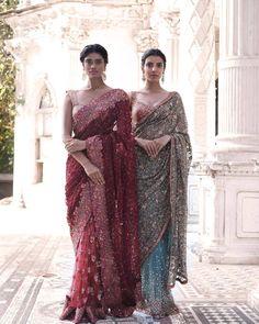 "sabyaasachi: """"The Merchant Princess by Shyamal and Bhumika Models: Archana Akhil Kumar & Arshia Ahuja "" "" Trendy Sarees, Stylish Sarees, Indian Wedding Outfits, Indian Outfits, Indian Clothes, Bridal Outfits, Shyamal And Bhumika, Indian Look, Indian Style"