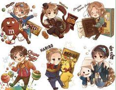 Aww! Alfred , Arthur , Matthew , Anthony , Ludwig & Kiku , dressed with sweets! #anime #Hetalia #sweeties
