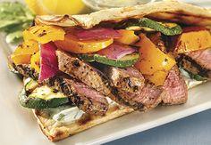 Love. This. Sandwich! Steak & fresh veggies on toasty pita bread. Lemon-cucumber dipping sauce  included!