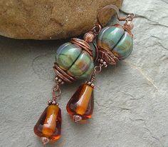 Denim Blue - Lampwork and Copper Earrings $26