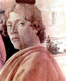 Sandro Botticelli, Autoportrait, publié vers 1475. -  Né 1444/1445, décès 1510.- La connaissance du linéarisme de Pollaiolo eut une influence fondamentale sur le développement pictural de Botticelli. Chez lui, cependant, la ligne se plie aux inflexions d'un lyrisme discret et délicat, appuyé par le choix de la couleur, tantôt vive, tantôt légère et plus atténuée, mais toujours précieuse et transparente.