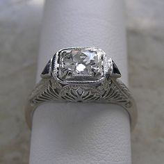Platinum Antique Style Diamond Engagement by marketplwcetreasure From the 1930s Price $3125.00