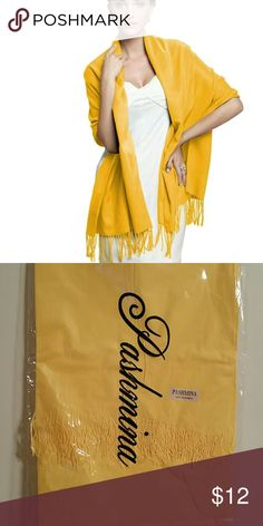 Long Solid Bright Yellow Pashmina Scarf Wrap Shawl New without Tags  Long Solid Ladies Women Vintage Cashmere Pashima Scarf Wrap Shawl  Soft and Lightweight  Made of Cashmere, Cotton and Polyester  Fashion, Warm Comfortable  COLOR: BRIGHT YELLOW  WEIGHT: Approx 12og SIZE: 170X70cm hand knotted tassels at each ends . Accessories Scarves & Wraps