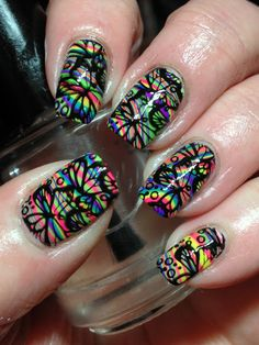 stamping on top of water marble by Canadian Nail Fanatic