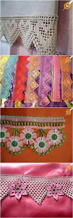 Lace Towel Edge Models – Lace Towel Edges From Past to Present - Crochet Scrap Crochet, Crochet Cactus, Crochet Lace Edging, Crochet Leaves, Crochet Stars, Vintage Crochet, Crochet Hooks, Knitting Patterns, Crochet Patterns