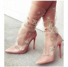 high heels – High Heels Daily Heels, stilettos and women's Shoes Sheer Socks, Lace Socks, Socks And Heels, High Heel Boots, Heeled Boots, Mesh Socks, Fishnet Socks, Shoes Heels, Stilettos