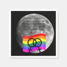 Rainbow Flag on the Moon Paper Napkins Party Napkins, Rainbow Flag, Ecru Color, Moon, Paper, The Moon