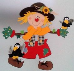 Window picture scarecrow with raven - autumn - decoration cardboard box! Autumn Crafts, Fall Crafts For Kids, Kids Crafts, Diy And Crafts, Arts And Crafts, Paper Crafts, Creative Activities For Kids, Autumn Activities, Adornos Halloween