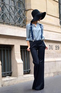 Menswear inspired outfit with suspenders and flared pants