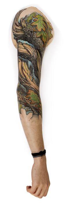 """Ember Oak"" Tattoo Sleeve by Markus Lenhard: www.luxaltera.com"