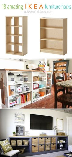 20 Smart and Gorgeous IKEA Hacks: save time and money with functional designs and beautiful transformations. Great ideas for every room such as IKEA hack bed, desk, dressers, kitchen islands, and more! - A Piece of Rainbow Ikea Hacks, Ikea Furniture Hacks, Furniture Makeover, Diy Hacks, Furniture Movers, Furniture Storage, Furniture Online, Diy Kitchen Storage, Diy Storage