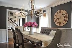 Charcoal Gray Dining Room Colors - Design photos, ideas and inspiration. Amazing gallery of interior design and decorating ideas of Charcoal Gray Dining Room Colors in living rooms, dining rooms, kitchens by elite interior designers. Grey Dining Room Paint, Dining Room Design, Dining Rooms, Dining Chairs, Paint For A Dark Room, Dining Table, Best Dining Room Colors, Dining Room Clock, Table Bench