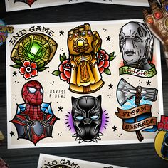 Infinity War tattoo flash sheet by me! The movie was so insane I hope I did it justice!