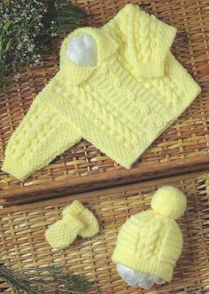 Baby aran jacket hat mitts Knitting Pattern pdf baby by Hobohooks Baby Cardigan Knitting Pattern, Knitted Baby Cardigan, Knit Baby Sweaters, Baby Knitting Patterns, Baby Patterns, Free Knitting, Cable Cardigan, Baby Set, Premature Baby