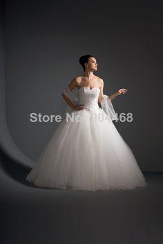 generoso 2014 digna novo fantasia e bonitas a_line branco/cetim marfim de tule com cercadura casamento vestido vestidos em Vestidos de noiva de Roupas & acessórios no AliExpress.com