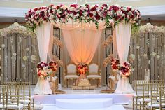 Gorgeous floral mandap in Cinnaminson, NJ Fusion Indian Wedding by House of Talent Studios Marriage Decoration, Wedding Stage Decorations, Engagement Decorations, Home Wedding, Wedding Events, Dream Wedding, Church Wedding, Table Wedding, Summer Wedding