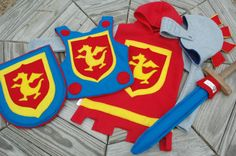 Fleece Knight Helmet with Movable Face Guard, chest plate, tunic, shield and sword
