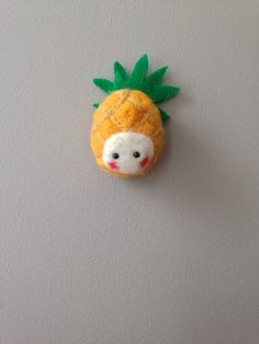 Yellow and green Pineapple Needle Felt Brooch by nadiaillustration