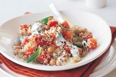 Chickpea and carrot couscous with minted yoghurt #Chickpea #garbanzobeans #garbanzos #chickpeas #cook #dinner #vegan #veganrecipes #veganfood #healthylifestyle #healthy #healthyfood #nutrition Gourmet Recipes, New Recipes, Vegetarian Recipes, Healthy Recipes, Cooking Garbanzo Beans, Mediterranean Dishes, Couscous, Side Dishes, Good Food