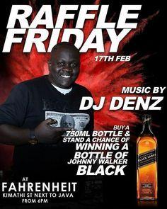 @fahrenheitcbd #at254 #entertainment #nairobi #february #aquarius #friday #tgif #membersnight #live #raffle #hangout #guys #bosslady #diva #divas #happy #food #kenya  #tag2post #bestdj #bottles #shots #johnnywalker #baileys #beer Raffle Friday with DJ Denz  Lots of surprises... Don't miss out -