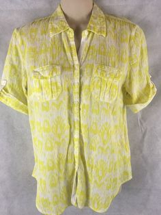 Banana Republic Yellow/White S/S Button Up Shirt SZ XS 100% Cotton Gauze #BananaRepublic #ButtonDownShirt