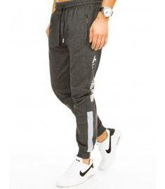 Tmavošedé pánske teplákové nohavice Mens Sweatpants, One Back, It Is Finished, Legs, Grey, Zippers, Composition, Cotton, Touch