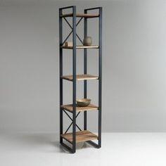 Kolom met 5 legplanken, in eikenhout en staal, Hiba
