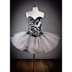 Custom Size Silver and black Burlesque Corset tutu Prom dress... ($275) ❤ liked on Polyvore featuring dresses, dance, corset, ballet and vestidos