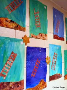 PAINTED PAPER Georgia O'Keeffe landscapes desert night sky elementary art education lesson project ladder to the sky