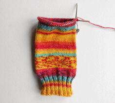 Beginner sock knitting - Winwick Mum Sockalong - leg section on short circular needle