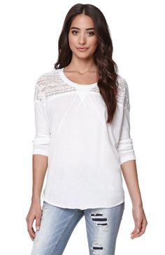 """A PacSun.com Online Exclusive! The Billabong Back Up Long Sleeve Top for women features lace detail across the shoulders and a flowy fit. Style this with a pair of destroyed denim for a fun free spirit look.26"""" length18"""" sleeve lengthMeasured from a size smallModel is wearing a smallHer Measurements: Height: 5'9"""" Bust: 34"""" Waist: 24"""" Hips: 34""""50% polyester, 38% cotton, 12% rayonMachine washableImported"""