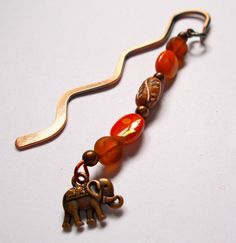 Copper Mini Wavy Bookmark with Ethnic Beads & Nepalese Elephant Charm - Length 10cm approx by NomvulaCrafts on Etsy