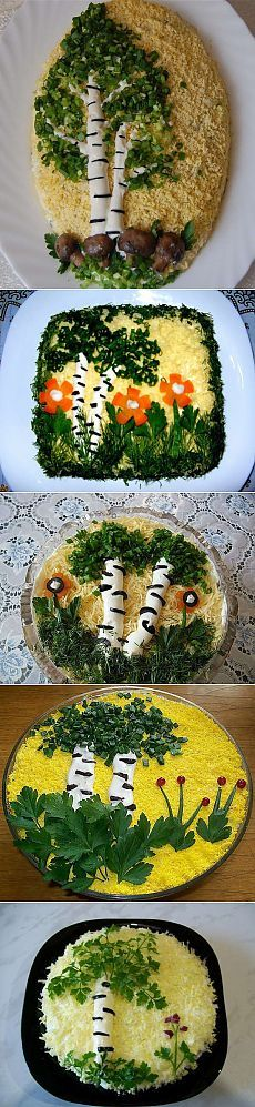 Salad & quot; Birch & quot; Cute Food, Good Food, Yummy Food, Fruit Recipes, Cooking Recipes, Food Carving, Veggie Tray, Iranian Food, Food Decoration