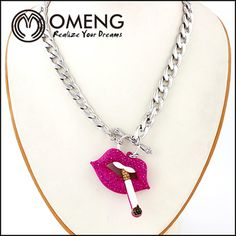 2014 Latest Model Fashion Alloy Chain Sexy Red Lips Smoking Charm Pendent Necklace
