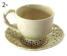 Set di 2 tazze da te' in ceramica Classic crema - 13x7x13 cm