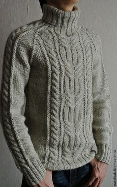 Knitted warm sweater Marko – shop online on Livemaster with shippingFor Men handmade. Knitting Pullover, Handgestrickte Pullover, Aran Knitting Patterns, Knitting Designs, Winter Outfits Men, Warm Outfits, Hand Knitted Sweaters, Warm Sweaters, Men's Knits