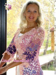 """Купить Ирландское кружево Кардиган """"Наталья"""" - фиолетовый, цветочный, ирландское кружево, авторская ручная работа"""