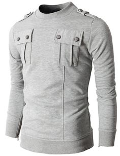 Mens T-shirts with Two Pocket and Shoulder Epaulet (KMTTL017:DOUBLJU)