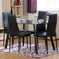 Abbey Dining Set for Four in Black