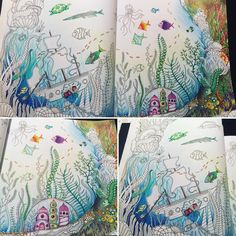 "Kourtney Ferro op Instagram: ""Starting to get cross eyed lol time for bed, got a lot finished! #lostocean #lostoceancolouringbook #fabercastellpolychromos #johannabasford #colouringforadults #sakuragellyroll #mycreativeescape @staedtlermars @staedtlernorthamerica"""