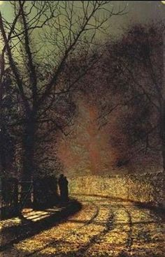 Lovers in a wood - John Atkinson Grimshaw 1873 Nocturne, Beautiful Paintings, Beautiful Landscapes, Leeds, John Blake, Atkinson Grimshaw, Pierre Auguste Renoir, Art For Art Sake, Pics Art