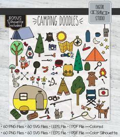 Woodland Illustration, Cloud Illustration, Plant Illustration, Doodle Png, Camping Drawing, Easy Doodle Art, Illustrator Cs5, Outline Drawings, Camp Fire