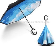 Inverted Umbrella with Cool Rainbow Letter N Print Car Reverse Folding Umbrella Windproof UV Protection with C-Shaped Handle